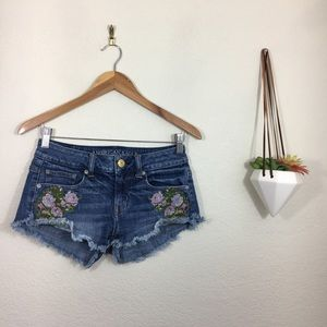 American Eagle Outfitters embroidered denim shorts
